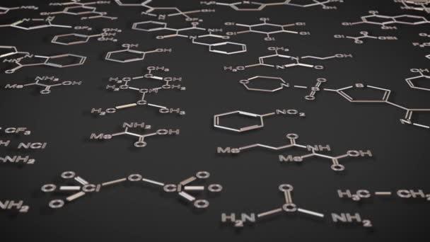 Looping-Animation über molekulare Strukturen organischer Chemie. Bewegung über Modelle von Molekülen und Formeln. Chemischer Hintergrund