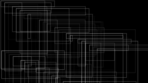 Bílé architektonické linie na černém pozadí