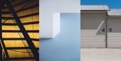 Fotografie Sada tří pozadí městská architektura. Architektonické detaily exteriéru