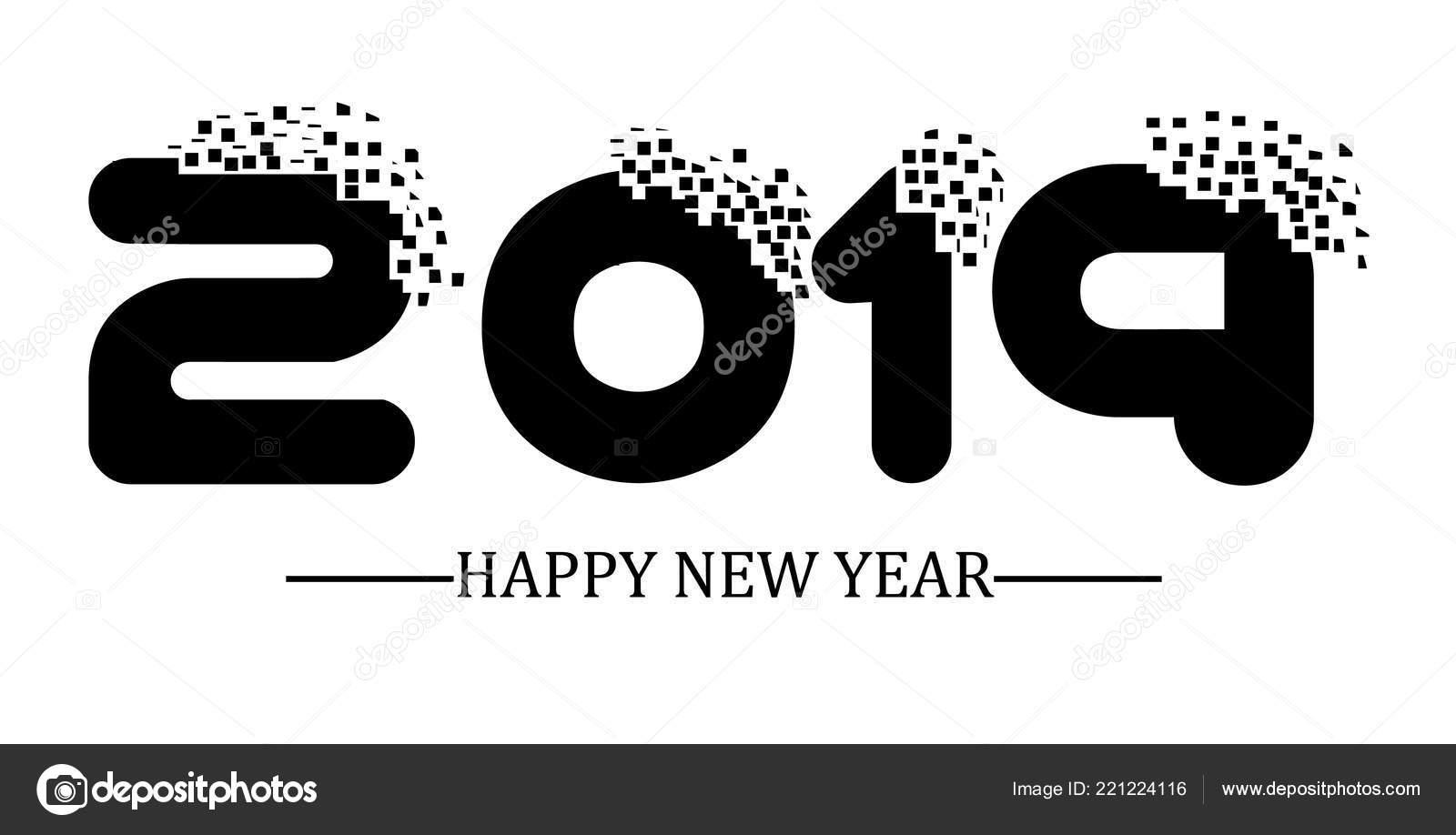 2019 Happy New Year Black Simple Scraps Style U2014 Stock Vector