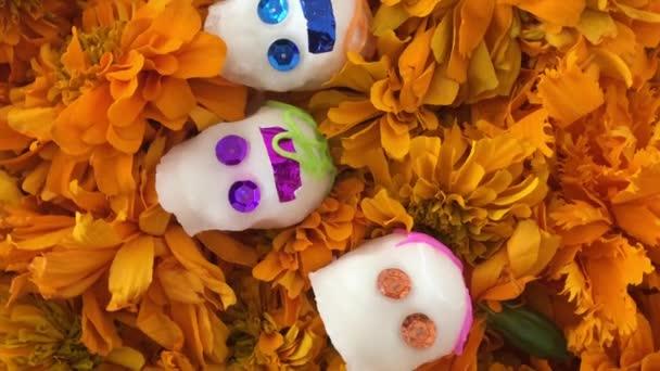 Authentische Schädel über Cempasuchitl Blumen in den Tag der Toten, Mexiko