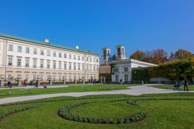 view of famous Mirabell Gardens with the old historic Fortress H