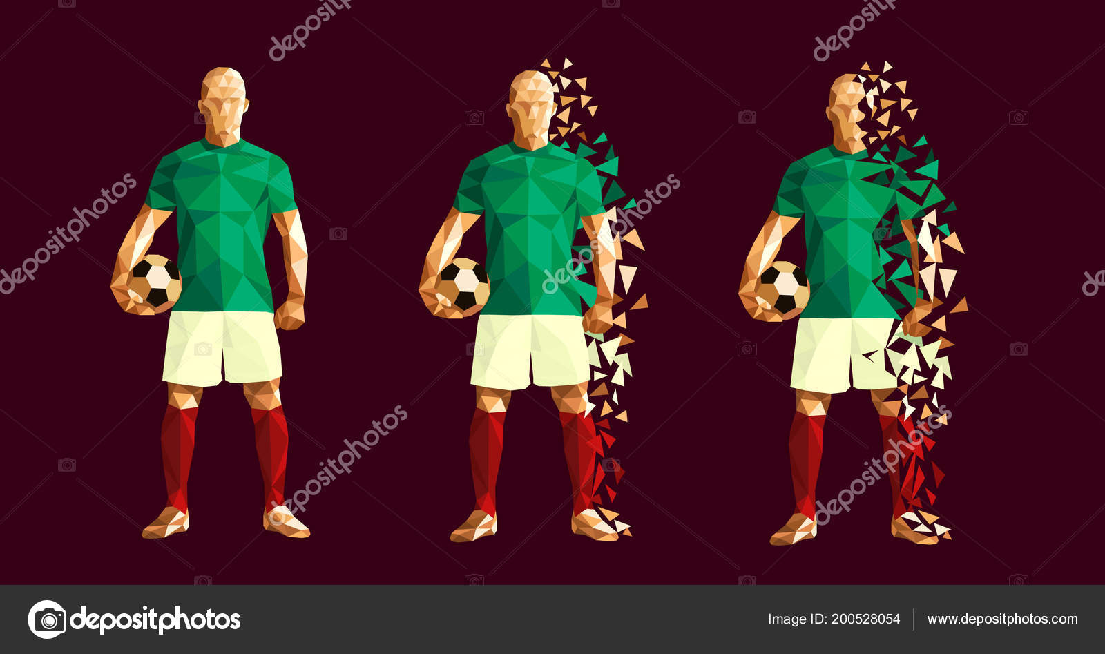 08b61669ca2 Vector illustration soccer football player low-poly style concept mexico  kits uniform colour world cup 2018 russia championship — Vector by ...
