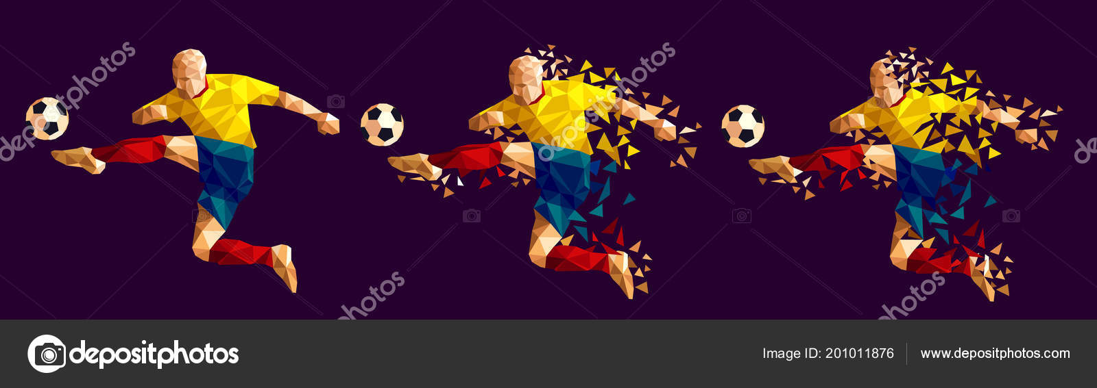 Vector illustration soccer football player low-poly style concept kits  uniform colour world cup 2018 russia championship — Vector by  vadymburla gmail.com 38d7c5695