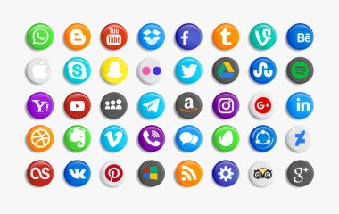 Set of popular social media icons Pinterest, Twitter, YouTube, WhatsApp, Snapchat, Facebook ,Feed, Linkedin, Yahoo and others