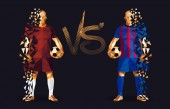 Photo Brown and blue soccer players holding vintage footballs, representing two opposing teams, standing isolated with a flat background behind them and a versus sign between them, vector illustration