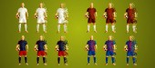 Photo Champions league group G, Soccer players colorful uniforms, 4 teams, vector illustration, set 2/8, Real, Roma, CSKA, Viktoria
