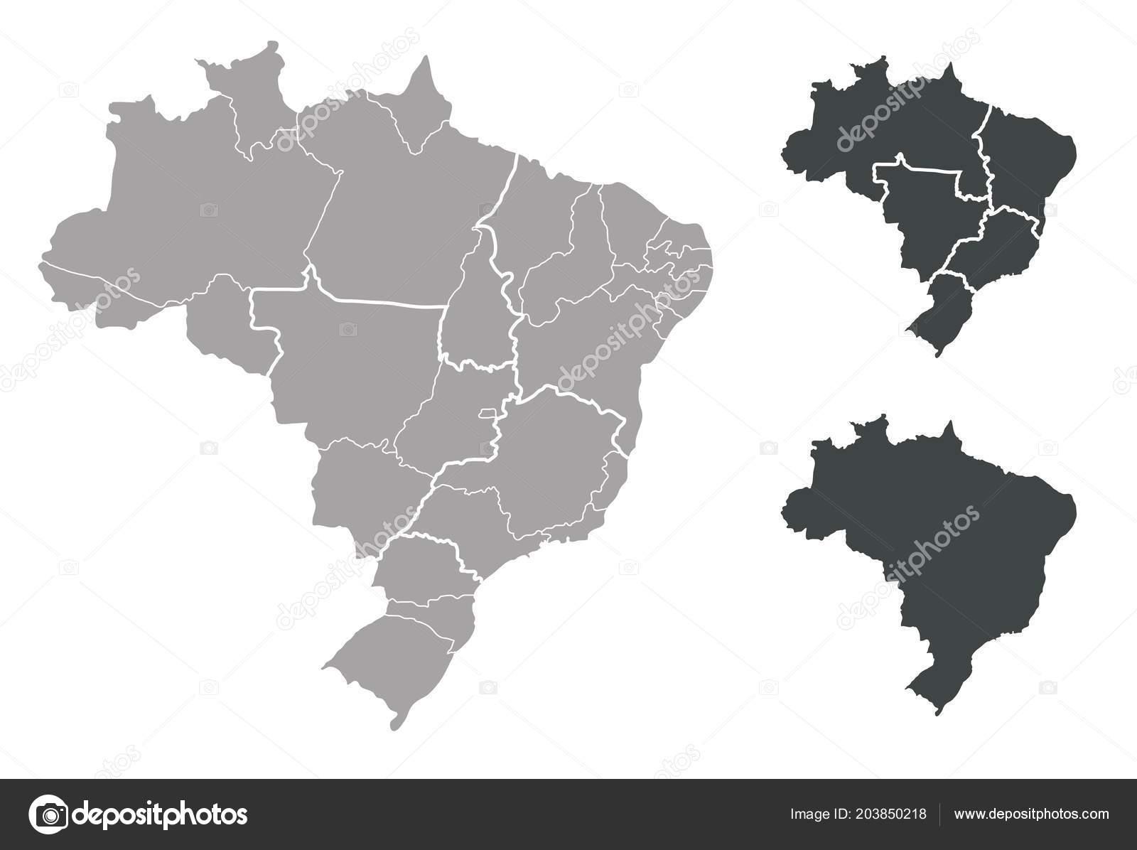 Outline Map Brazil Stock Vector C Blacklava36 203850218