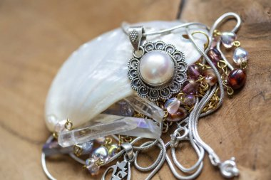 Jewelry collection on wooden background