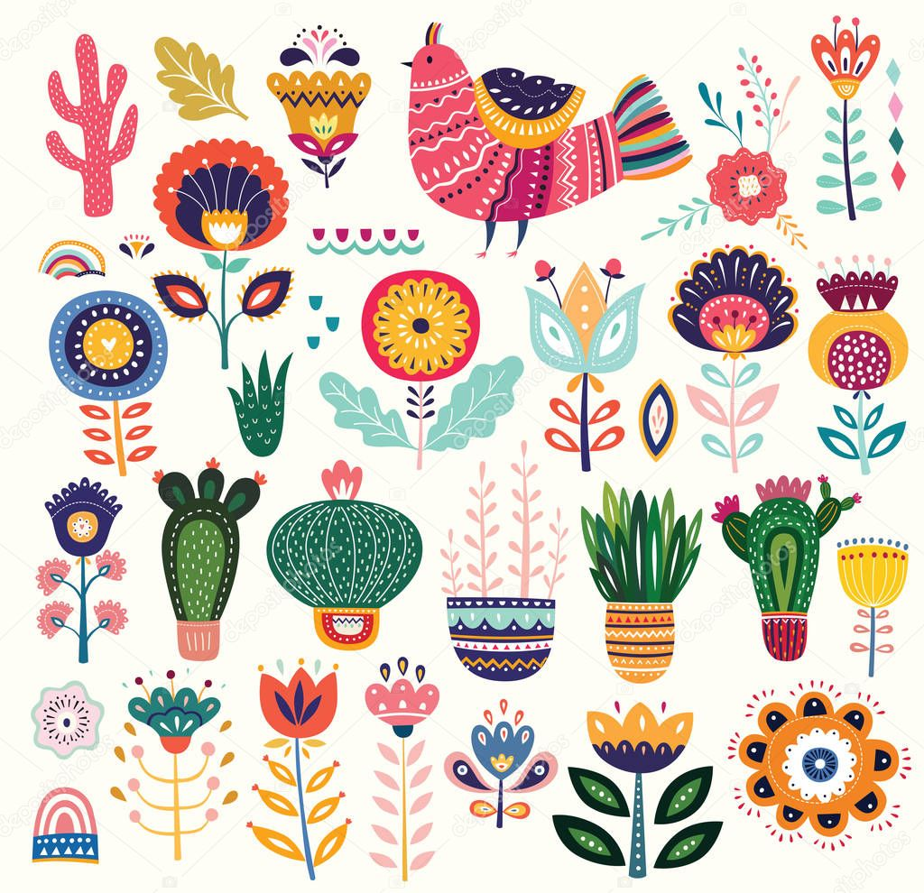 Vector illustration of colorful collection with flowers, bird and ethnic design elements