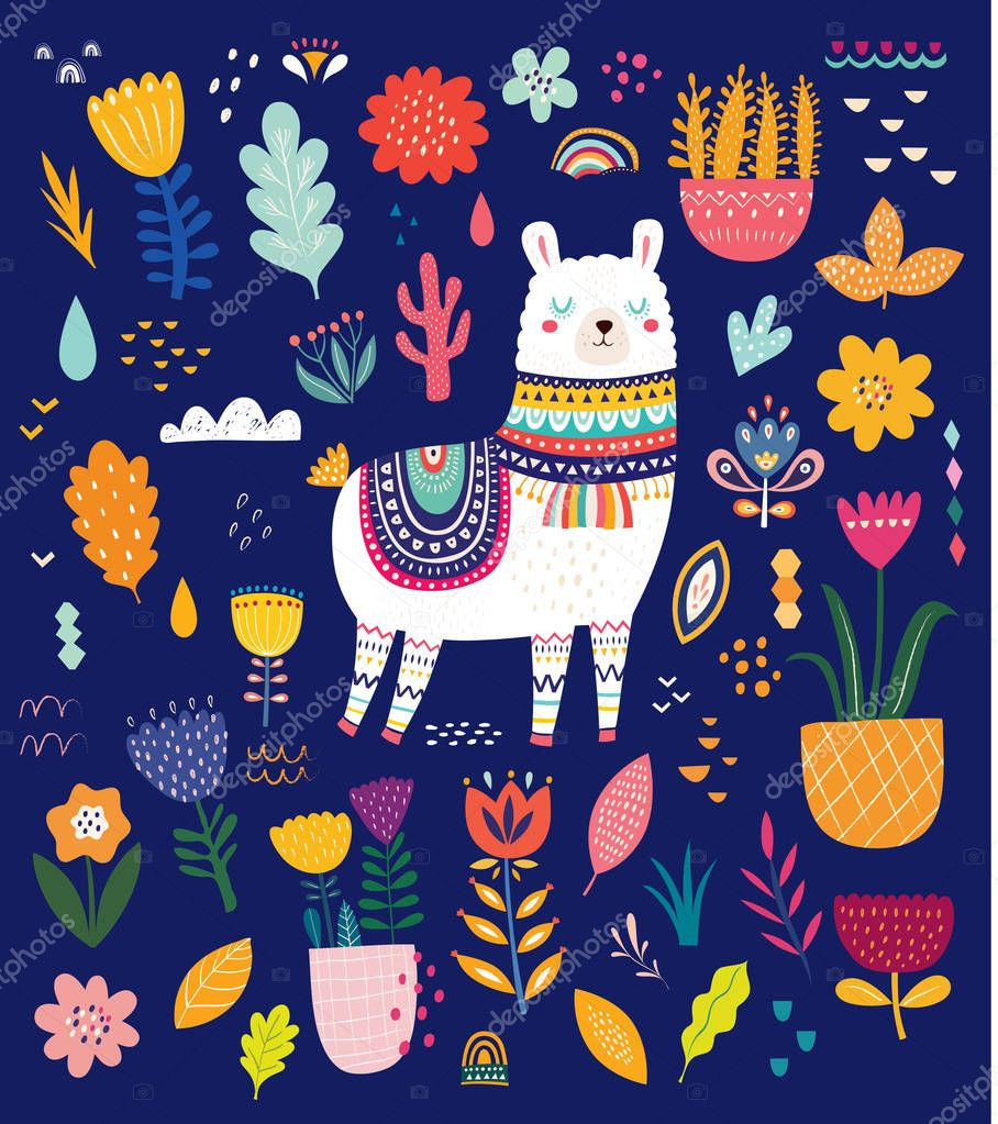 Vector illustration of colorful set with lama, flowers and ethnic design elements