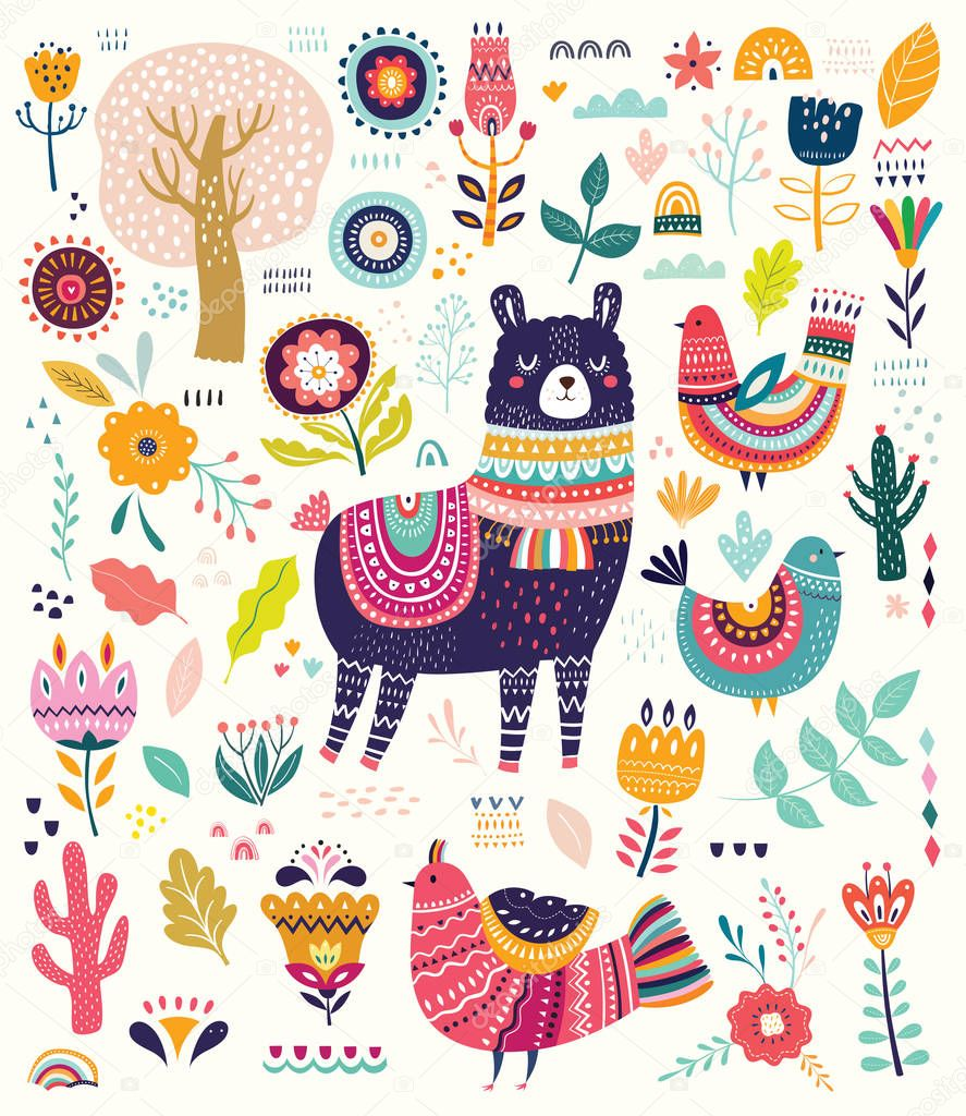Vector illustration of colorful set with lama, flowers, birds and ethnic design elements