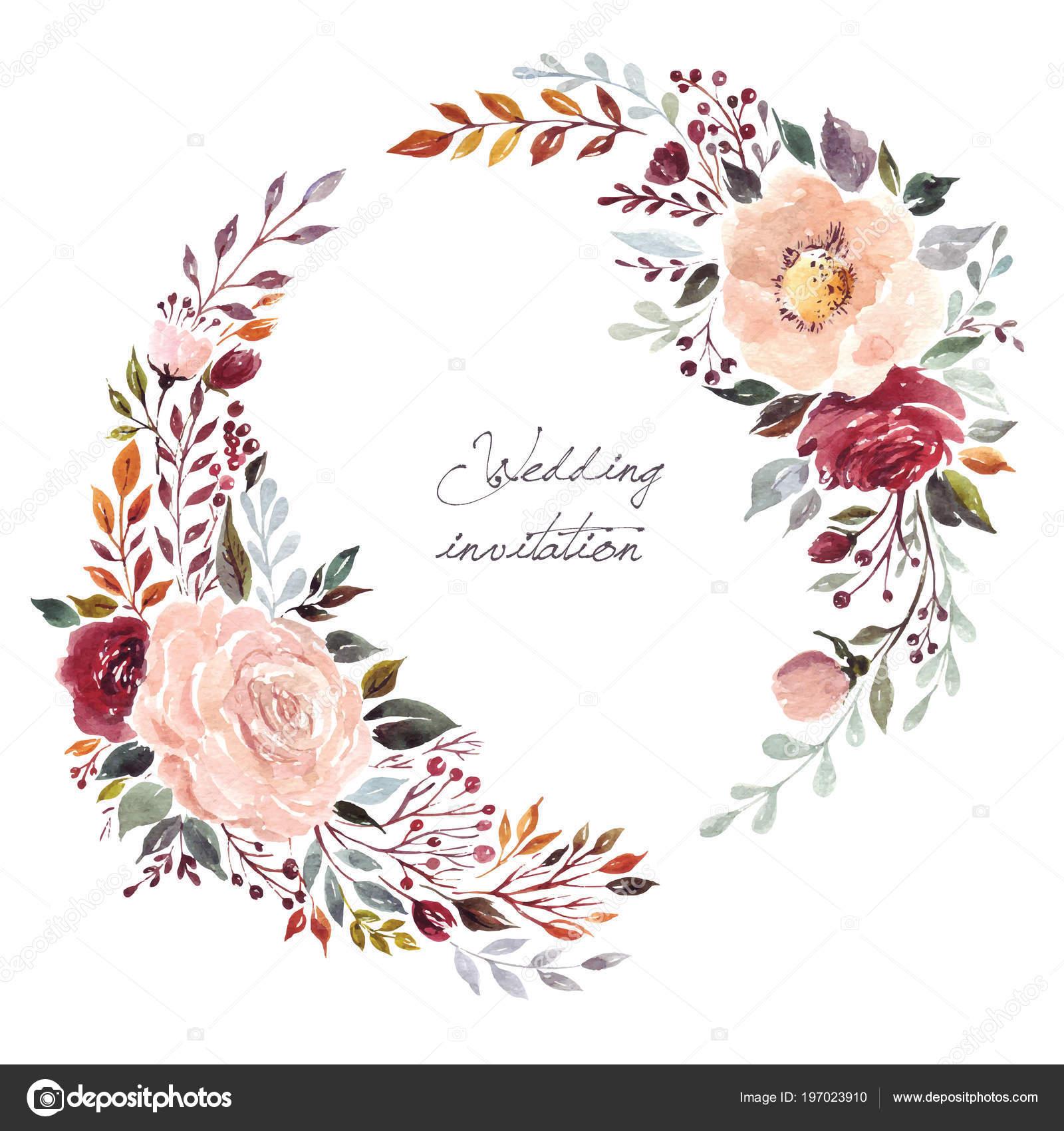 花の色結婚式の花輪 ベクトル イラスト ストックベクター Molesko