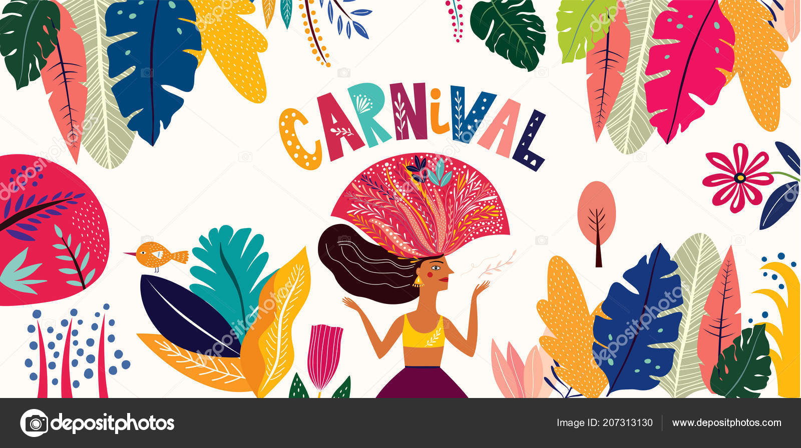 color brazil carnival template dancing woman vector illustration