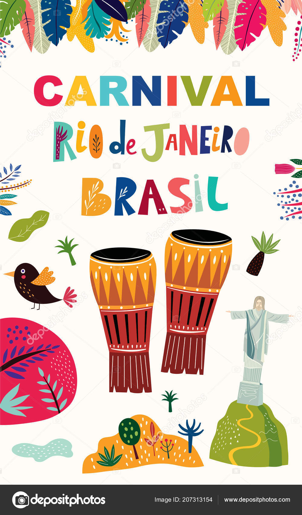 color brazil carnival template traditional drums vector illustration