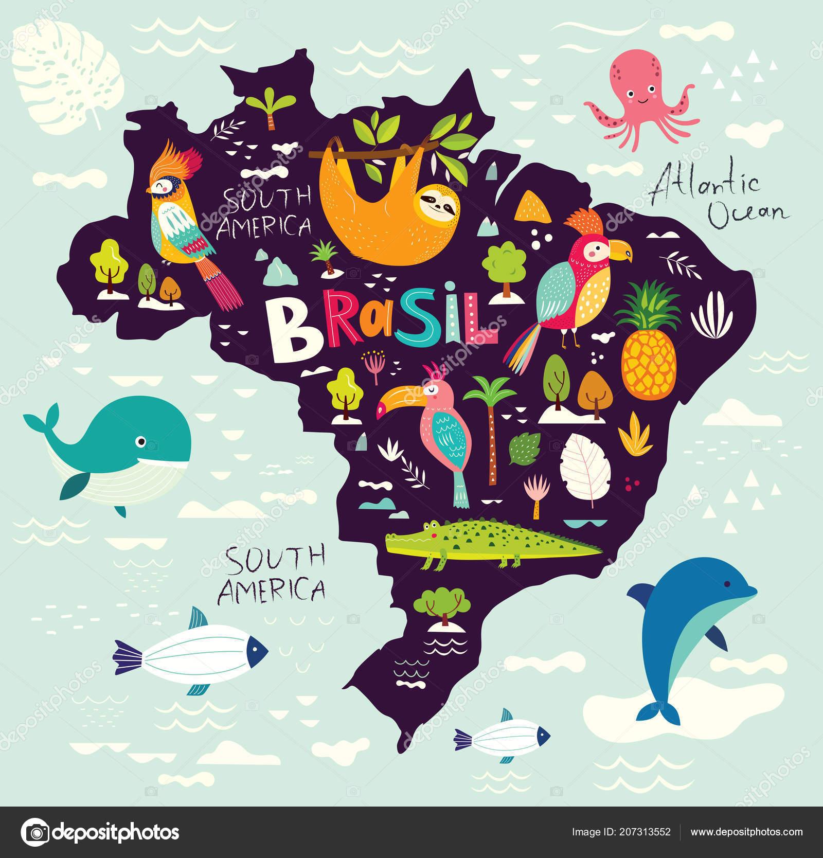 Map Brazil Animals Brazilian Symbols Icons Vector Illustration ...