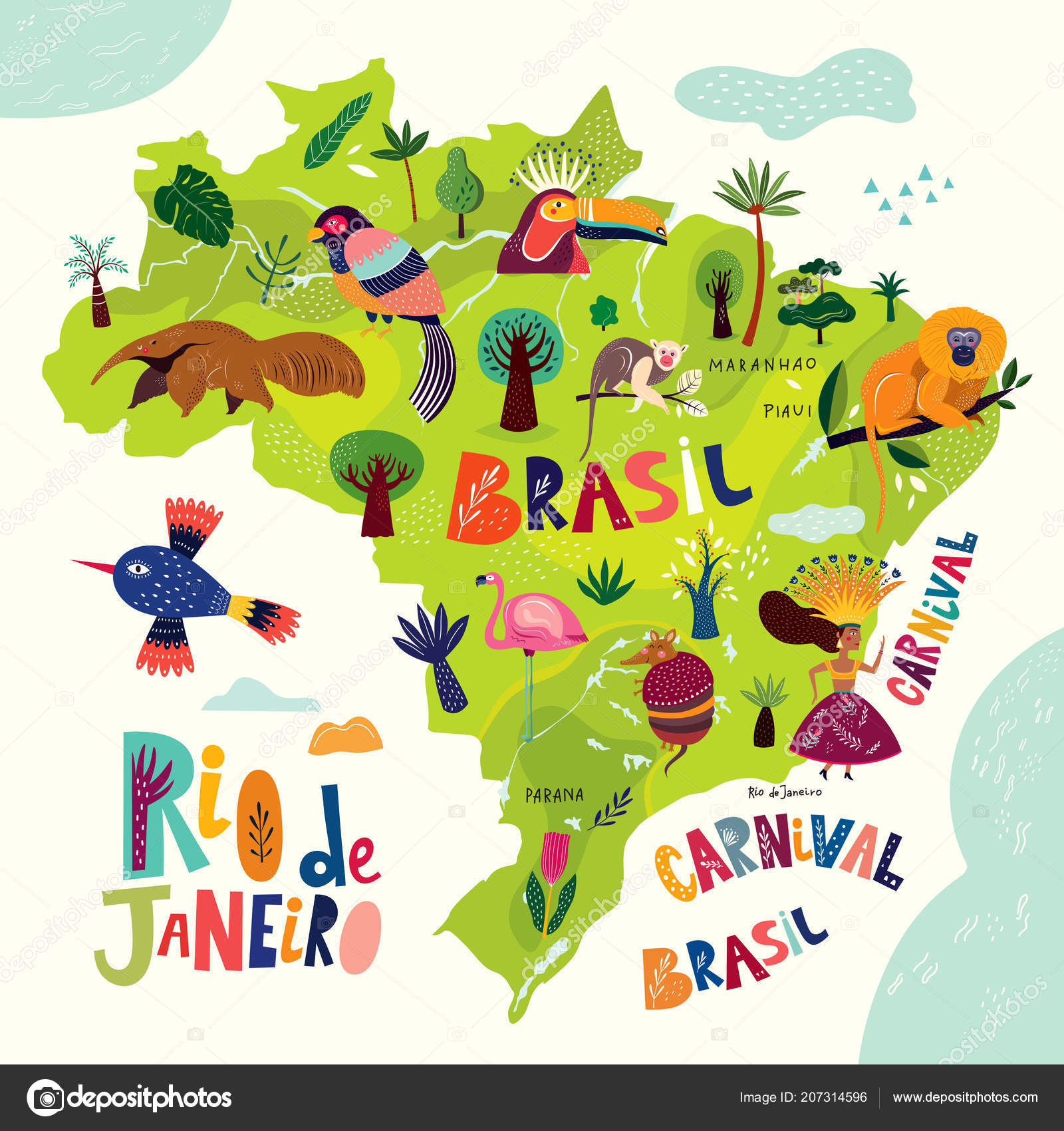 Map Brazil Colorful Brazilian Animals Symbols Vector Illustration ...