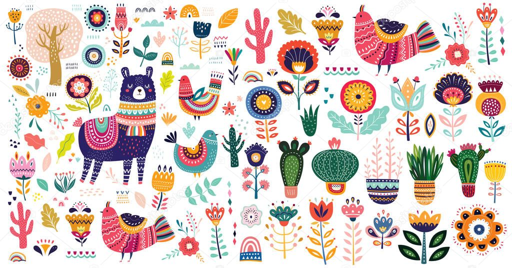 colorful set with lama, flowers, birds and ethnic design elements, vector illustration
