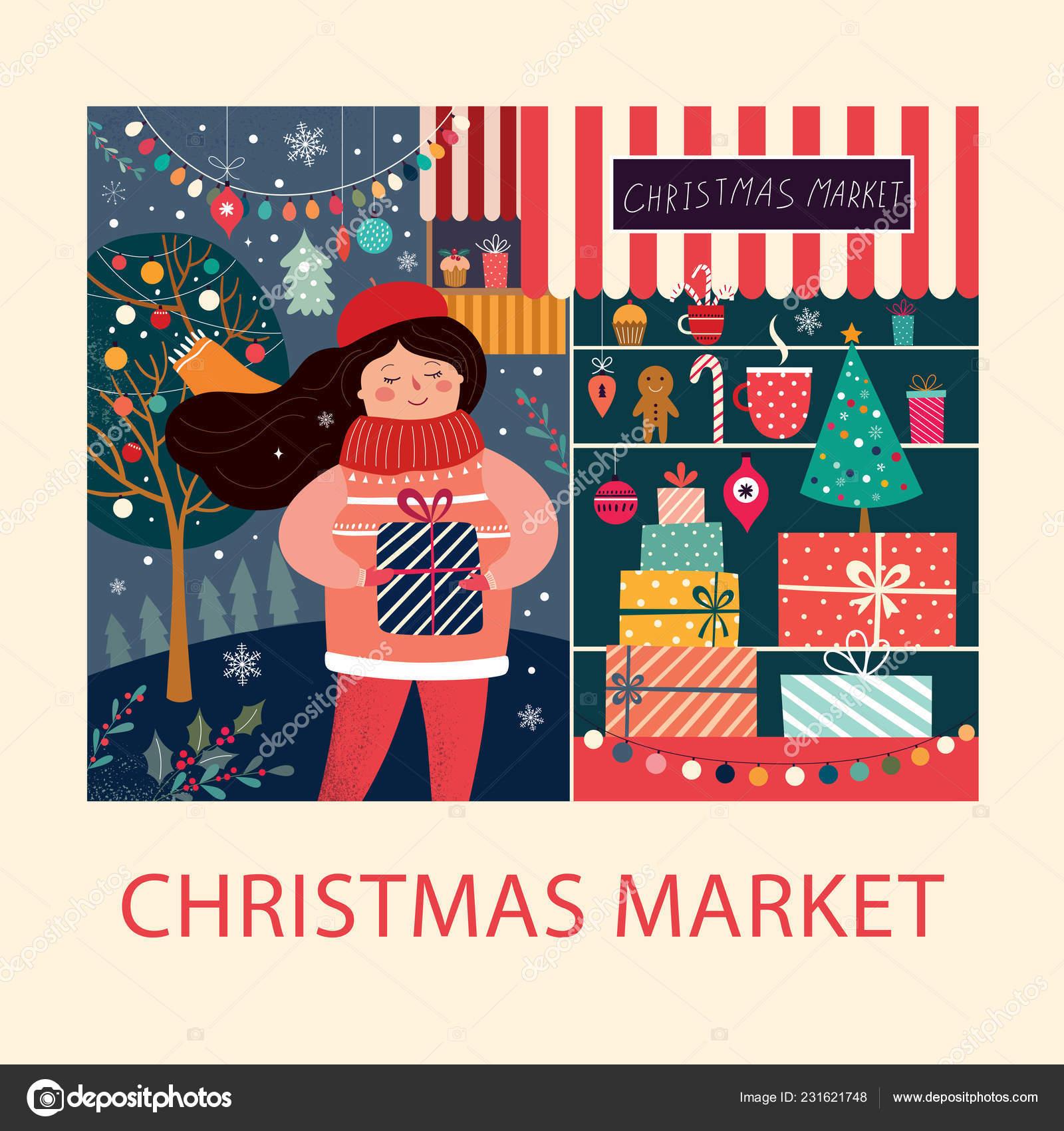 Regalo Natale Ragazza.Immagini Regalo Natale Illustrazione Vettore Con Ragazza