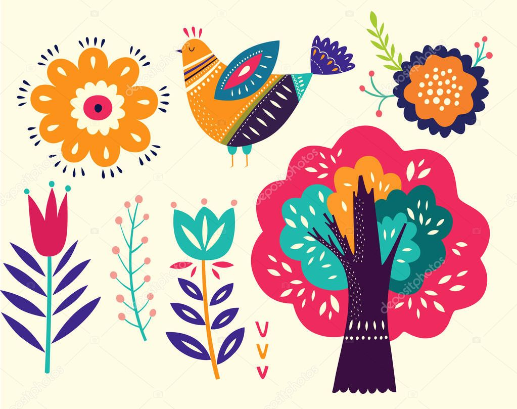Vector collection with decorative floral elements