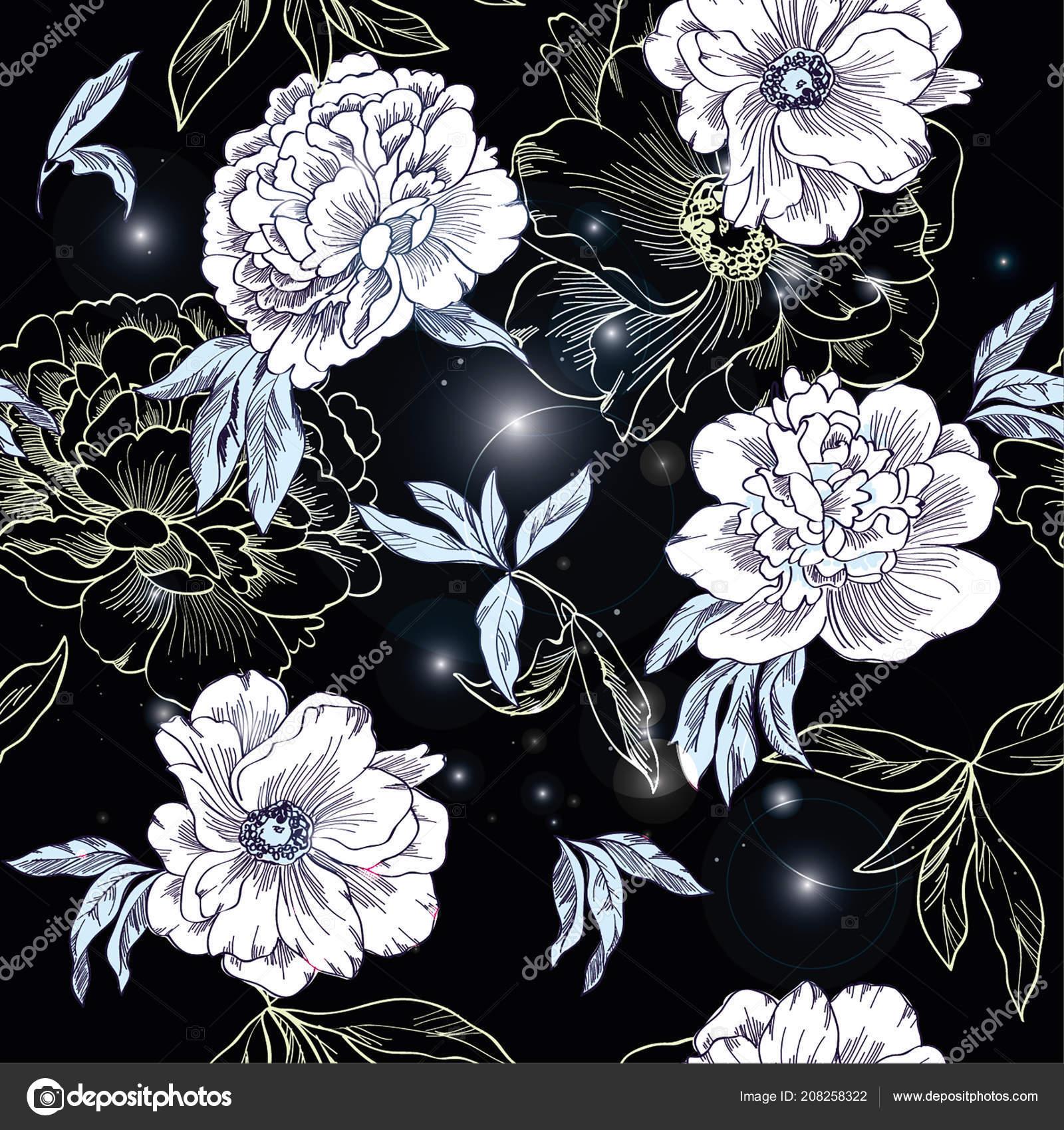 floral pattern neon lights stock vector anastasy lu 208258322
