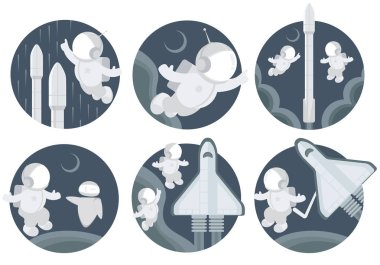 Vector images on the theme of space. Astronauts, astronauts and rockets with stars. Good pictures for the design of decorative works.