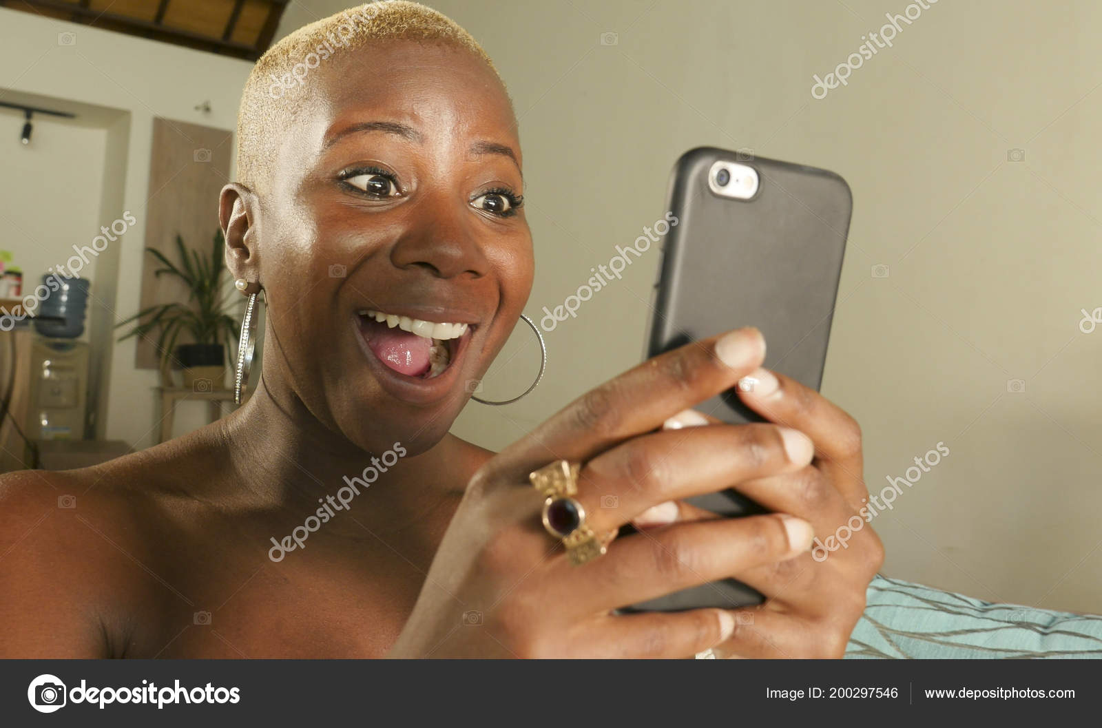 Young Beautiful Happy Black African American Woman Smiling