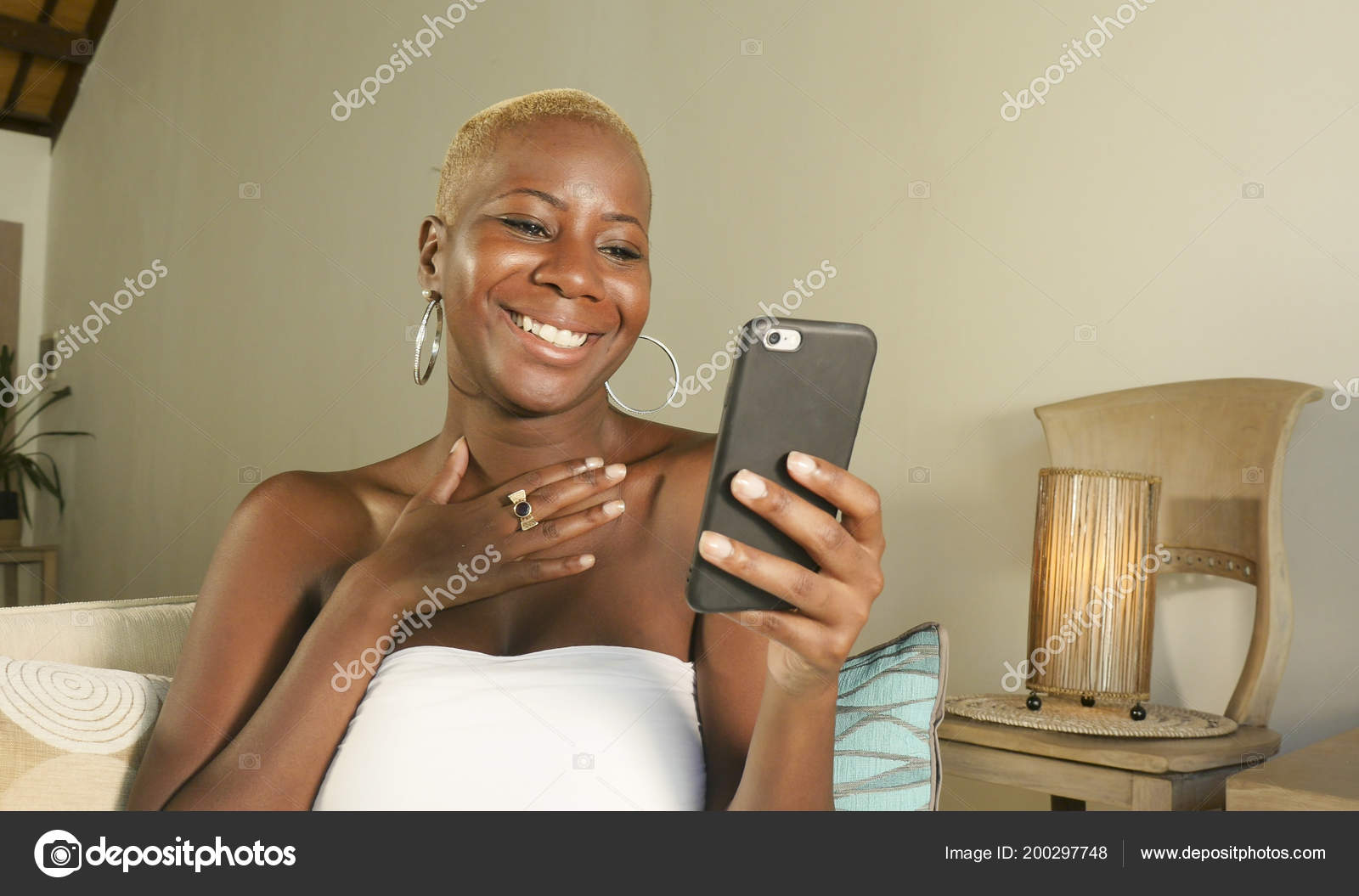 Young Beautiful Happy Black African American Woman Smiling Excited