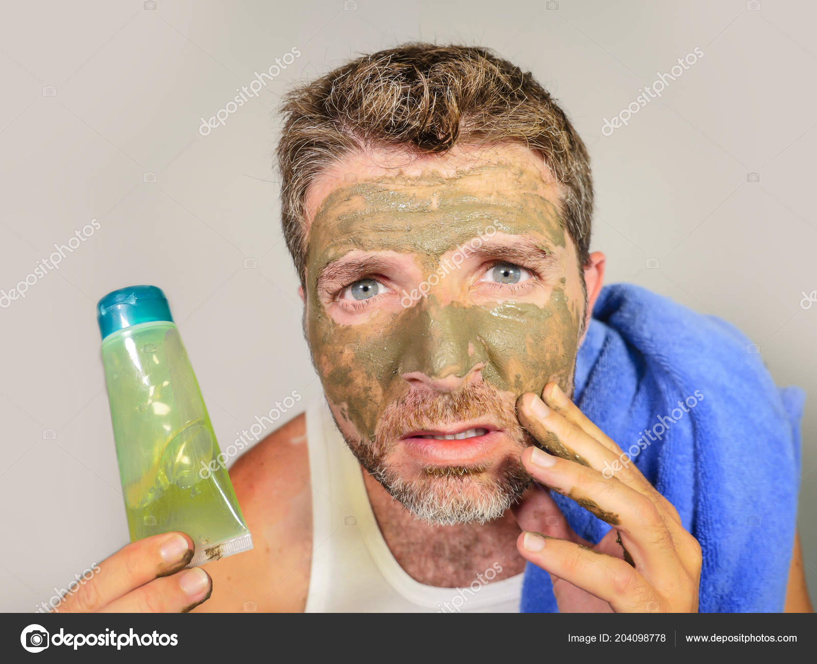 Man Holding Mirror Intended Portrait Of Young Messy Funny Man In Bathroom Mirror With Green Face Holding Cream Male Beauty Product Applying Facial Mask Feeling It Disgusting And Ugly Young Messy Funny Man Bathroom Mirror Green Face Holding
