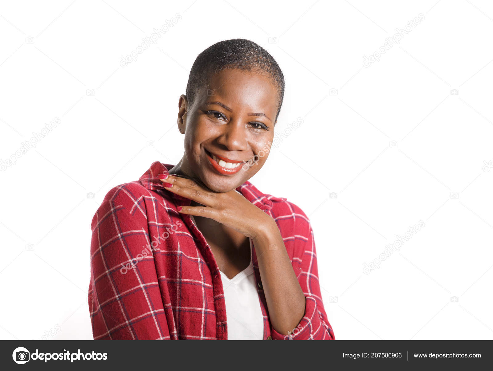 49156147543219 Lifestyle fresh portrait of young attractive and natural black afro  american woman in casual shirt smiling positive isolated posing cheerful  feeling happy ...