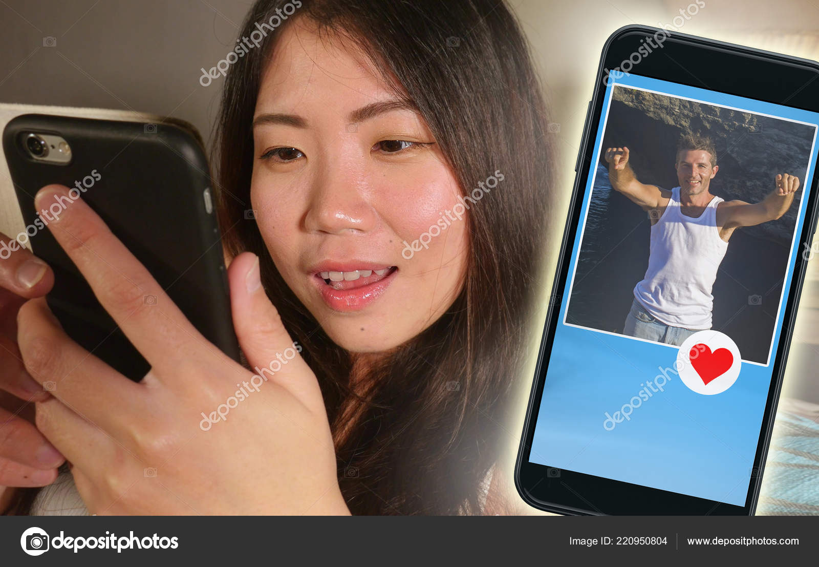 Young Beautiful Happy Asian Chinese Woman Using Internet Online