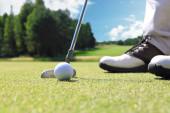 Golf hráč na uvedení zelené trefit míč do díry