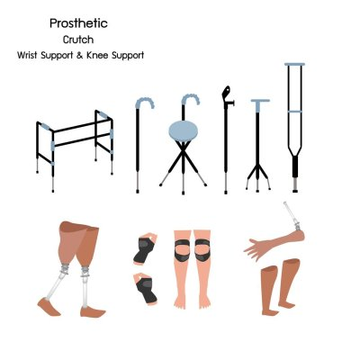 Medical Concept, Illustration Collection of Prosthetic Leg, Knee and Arm, Crutches and Walkers with Wrist and Knee Support