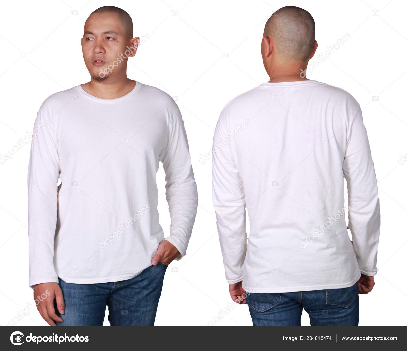 5a98e0777 Camiseta Manga Comprida Branca Mock Frente Costas Isolado Maquete ...