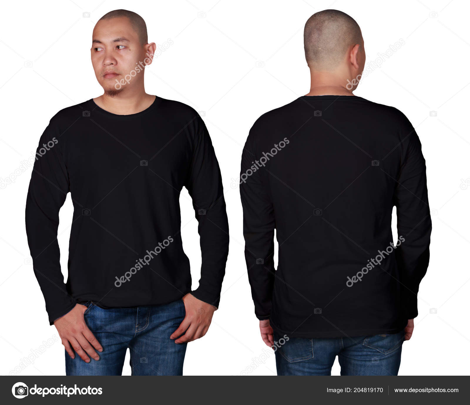 Black Long Sleeved Shirt Mock Front Back View Isolated Male