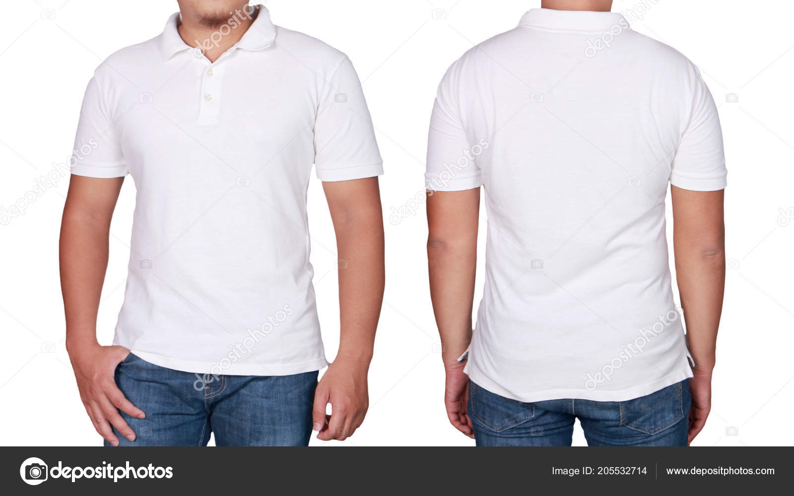 White Polo Shirt Mock Front Back View Isolated Male Model Stock