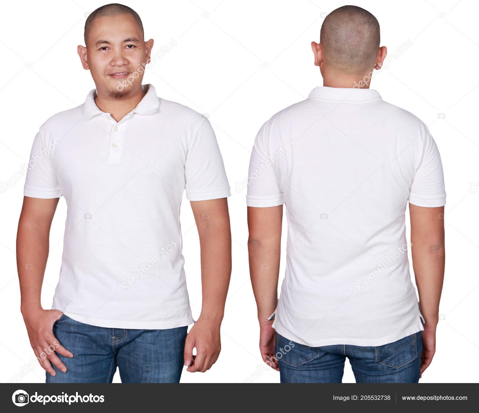 18b31bc6 White polo t-shirt mock up, front and back view, isolated. Male model wear plain  white shirt mockup. Polo shirt design template.