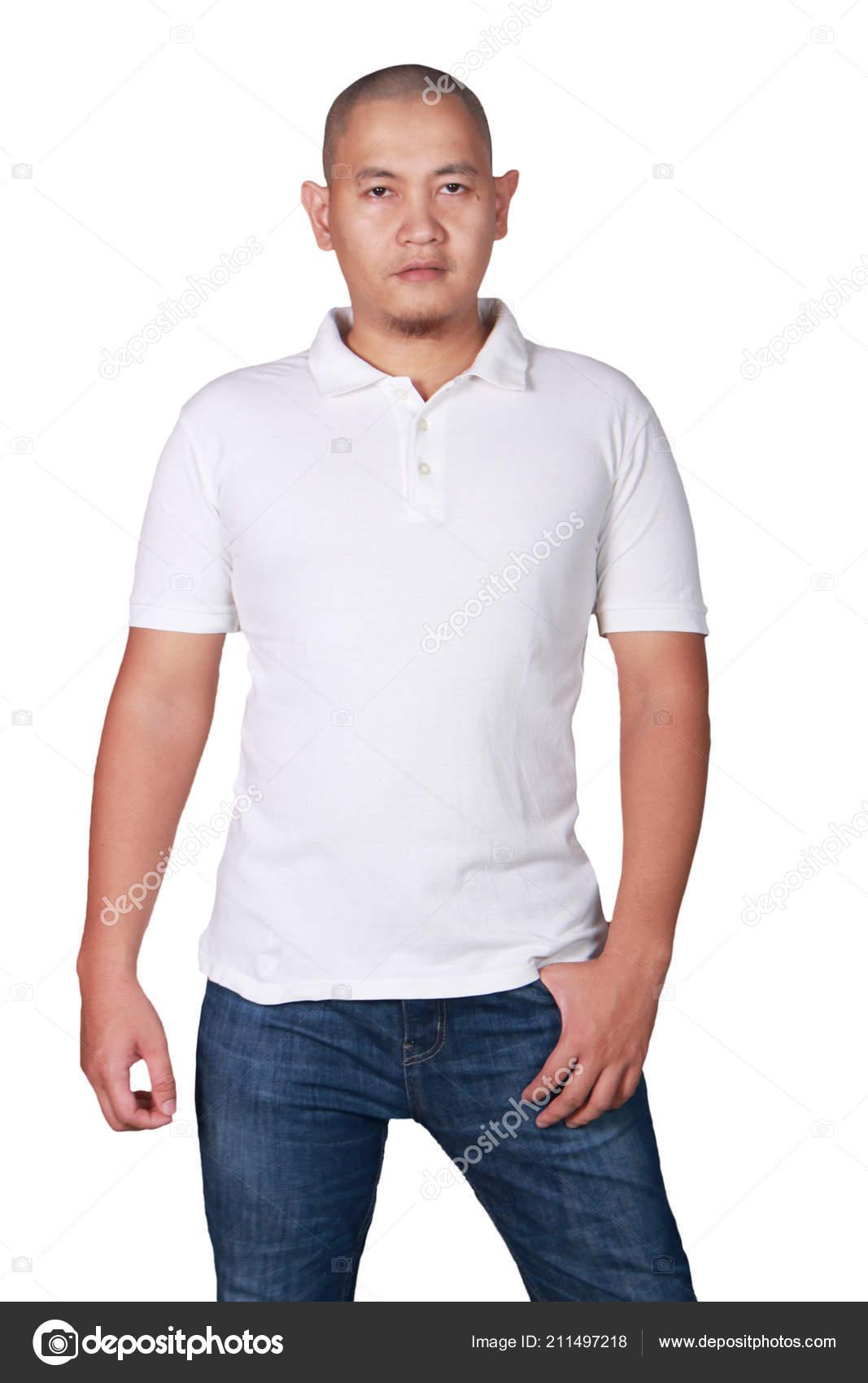 Male Polo Model White Polo Shirt Mock Front View Male Model Wear