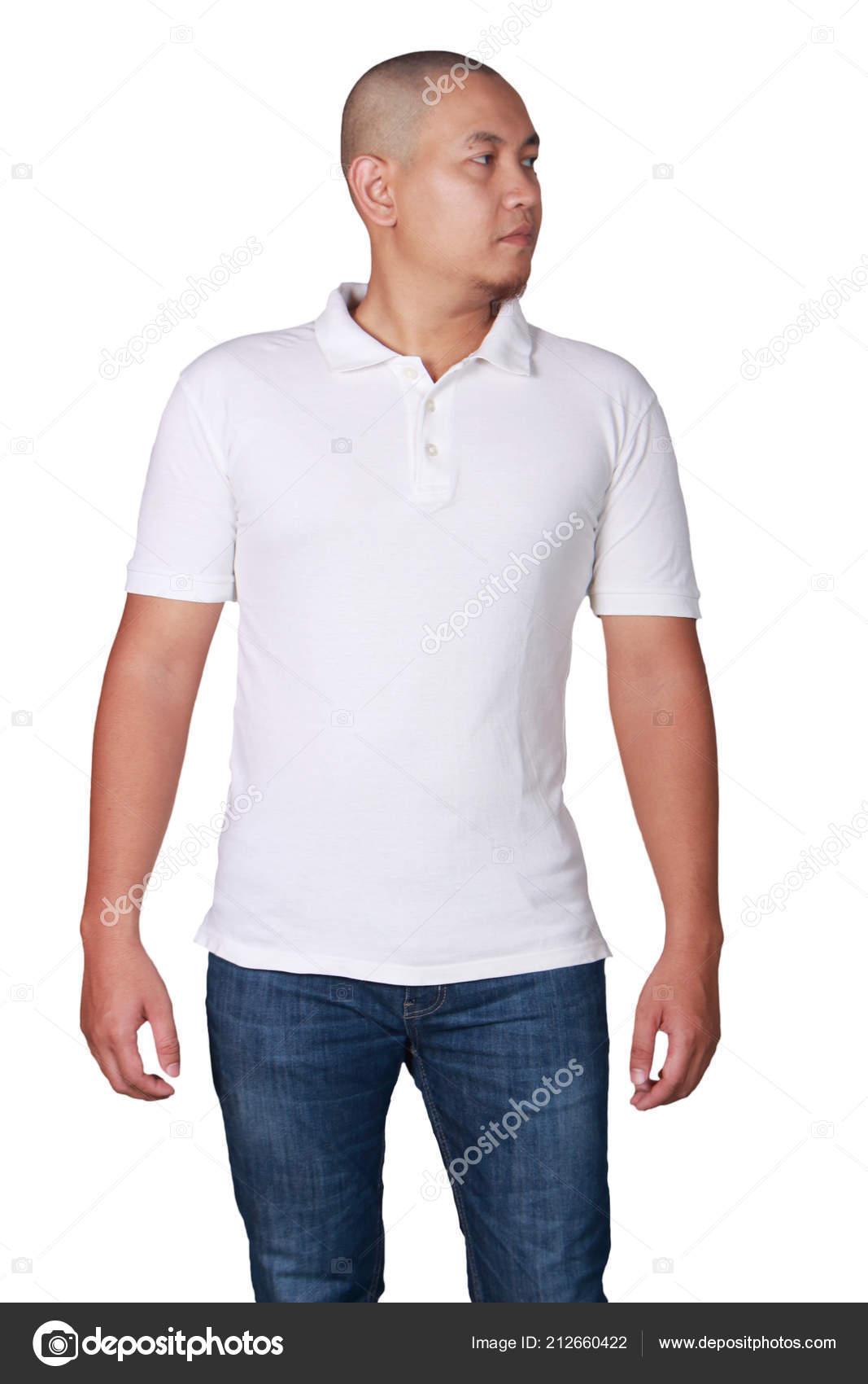 Male Model T Shirt Mockup White Polo Shirt Mock Front View Male