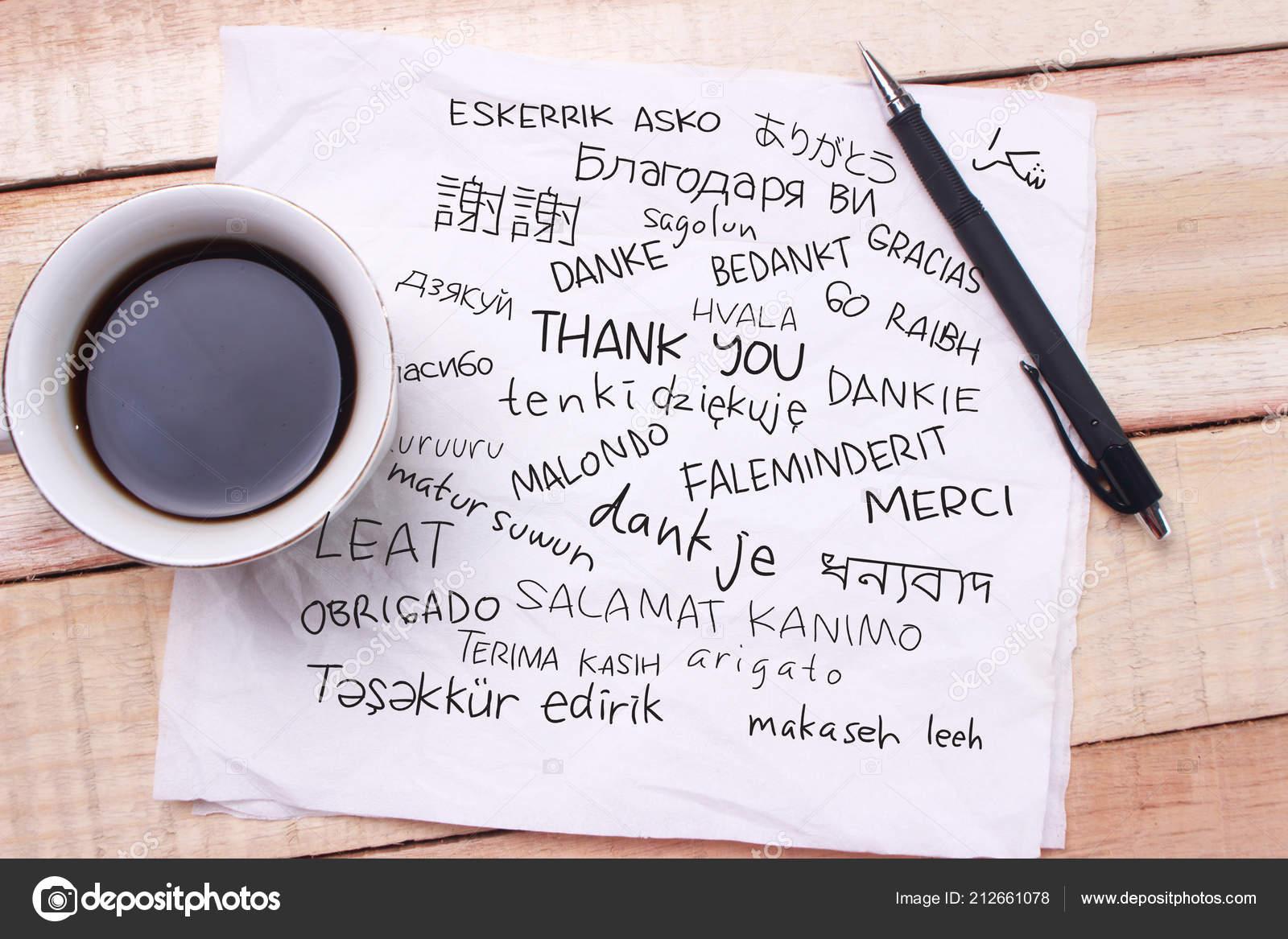Merci Lettre Mots Gratitude Dans Nombreuses Langues écrit