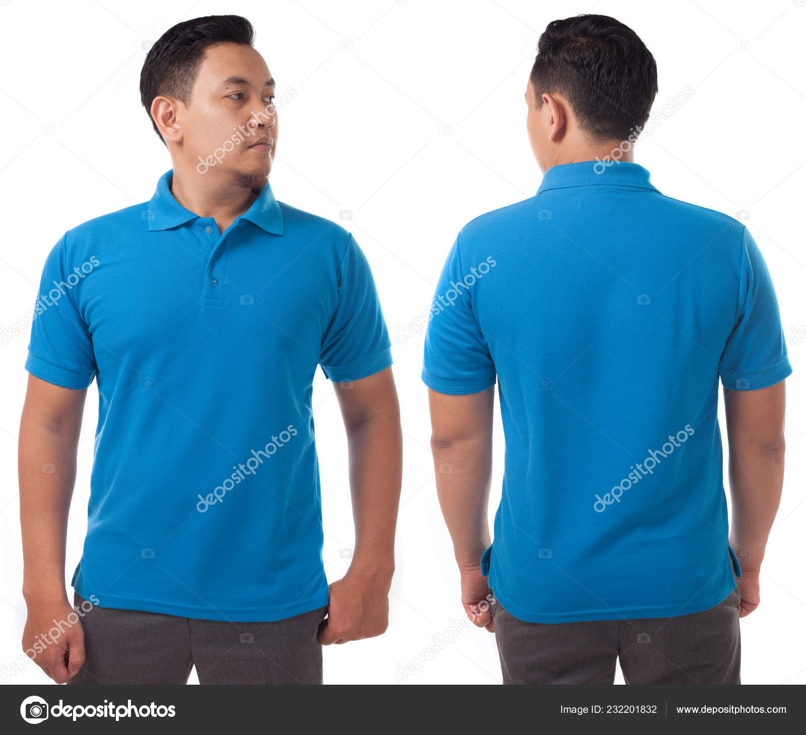 Blue Polo Shirt Mock Front Back View Isolated Male Model