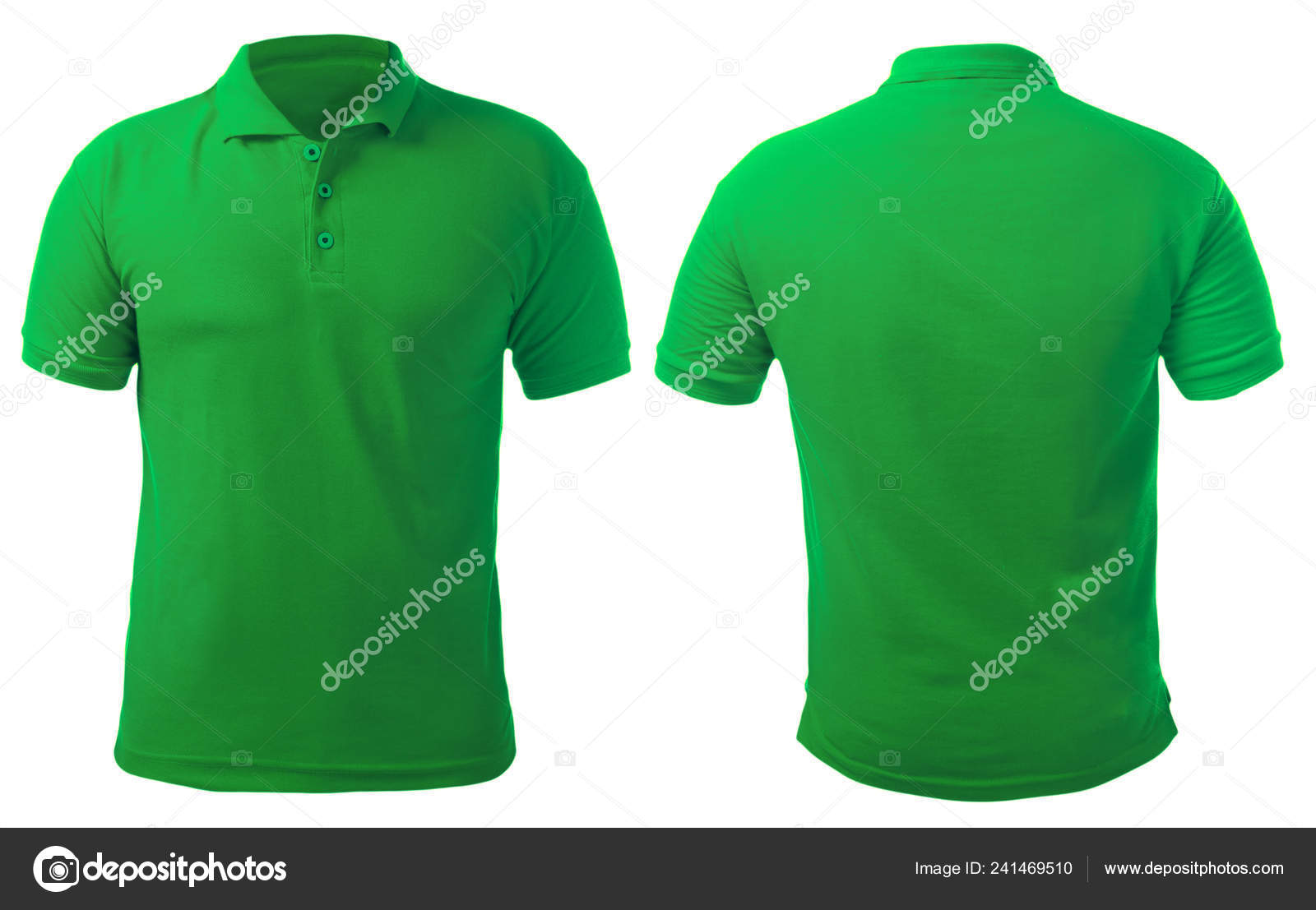 70272e43e Blank collared shirt mock up template, front and back view, isolated on  white, plain green t-shirt mockup. Polo tee design presentation for print.
