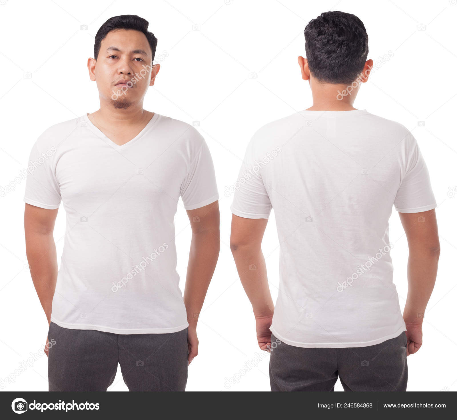 White Neck Shirt Mock Front Back View Isolated Male Model Stock