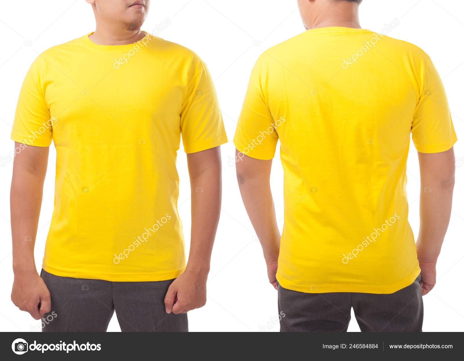 Download Yellow Shirt Mock Front Back View Isolated White Male Model Stock Photo C Airdone 246584884 PSD Mockup Templates