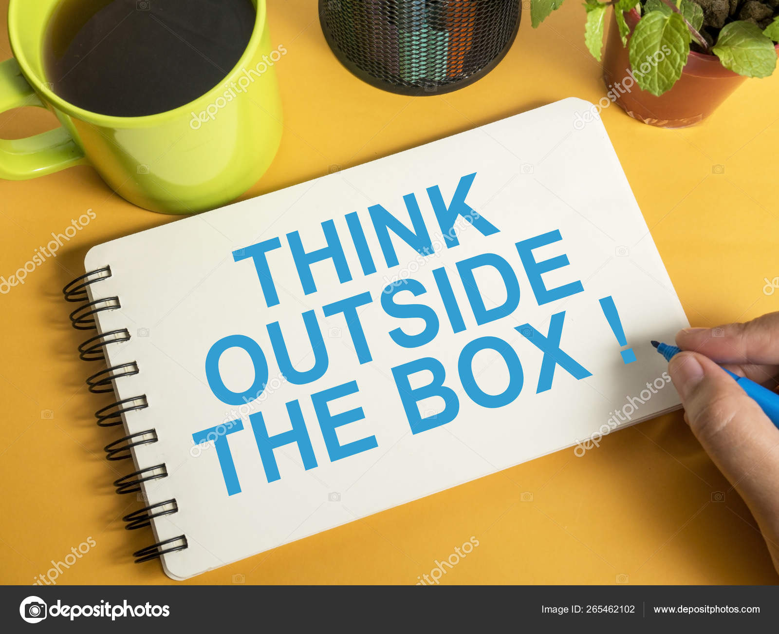 think outside the box motivational words quotes concept stock
