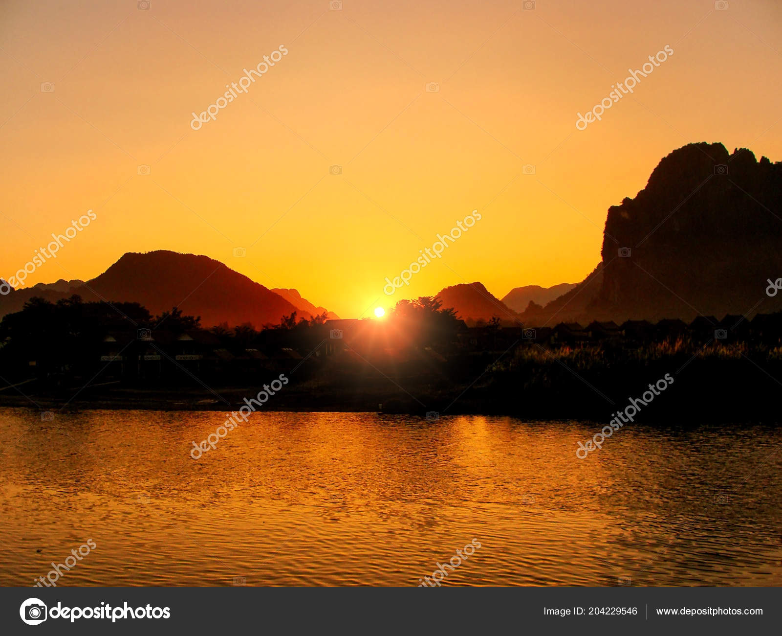 Sunset Nam Song River Silhouetted Rock Formations Vang Vieng
