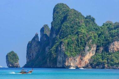 Ao Loh Dalum bay on Phi Phi Don Island, Krabi Province, Thailand. Koh Phi Phi Don is part of a marine national park.