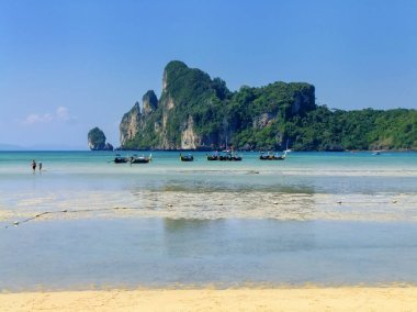 Ao Loh Dalum Beach on Phi Phi Don Island, Krabi Province, Thailand. Koh Phi Phi Don is part of a marine national park.