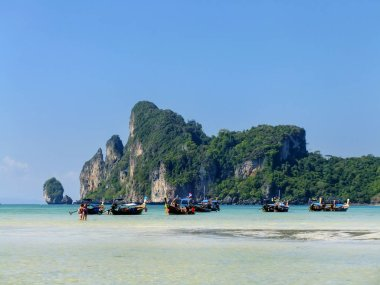Ao Loh Dalum bay with anchored longtail boats on Phi Phi Don Island, Krabi Province, Thailand. Koh Phi Phi Don is part of a marine national park.