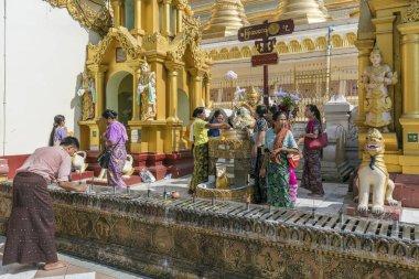 Yangon, Myanmar - 25 December 2016 - People at the Shwedagon Pagoda in Yangon, Myanmar.